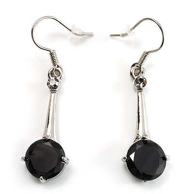 Jet Black Round Cut CZ Drop Earrings (Silver Tone) - main view