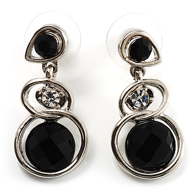 Black Beaded Drop Earrings (Silver Tone)