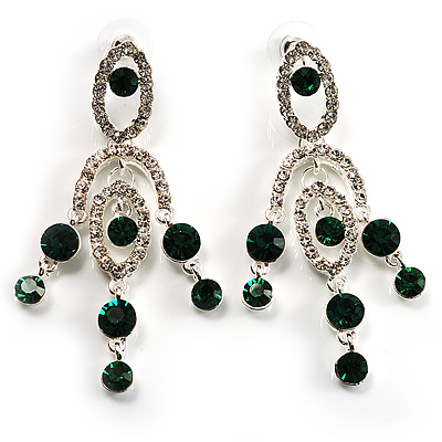 Stunning Emerald Green Swarovski Crystal Chandelier Earrings (Silver Tone) - main view