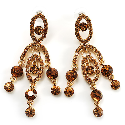 Stunning Amber Coloured Swarovski Crystal Chandelier Earrings (Gold Tone)