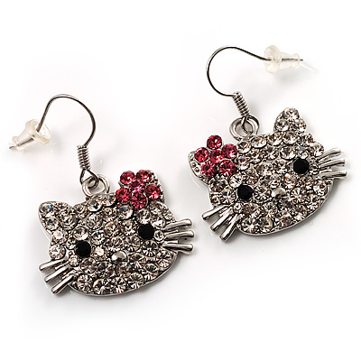 Cute Crystal Kitten Earrings (Silver&Clear)