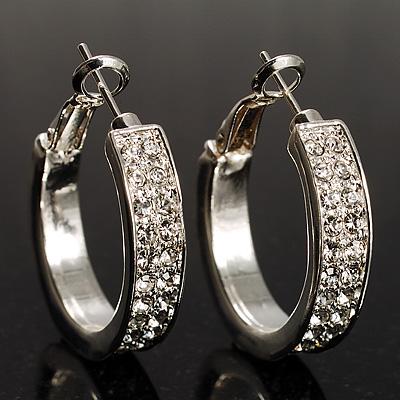 Silver Tone Crystal Hoop Earrings (25mm Diameter)