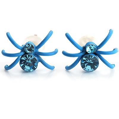 Tiny Sky Blue Crystal Spider Stud Earrings