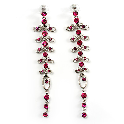 Long Vintage Statement Earrings (Silver&Magenta) - main view