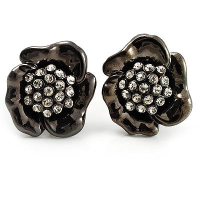Black Tone Clear Crystal Daisy Stud Earrings