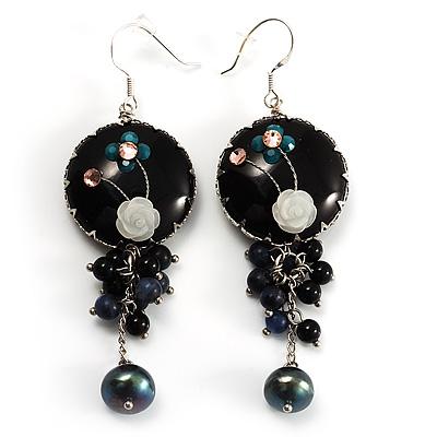 Boho Style Floral Bead Drop Earrings (Silver&Black) - main view