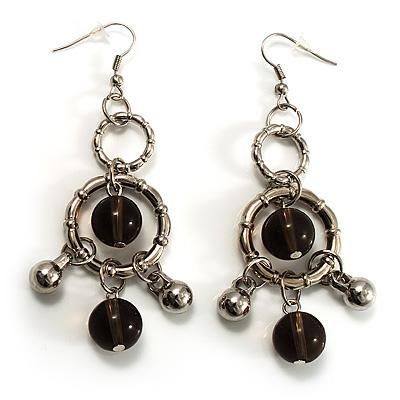Silver Tone Bead Dangle Earrings