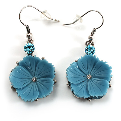 Sky Blue Daisy Drop Earrings (Silver Tone)