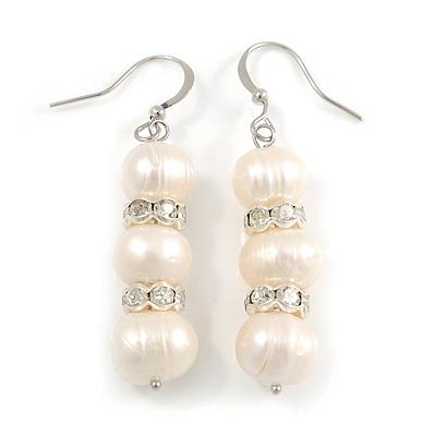Light Cream Freshwater Pearl Crystal Drop Earrings (Silver Tone)