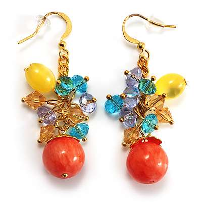 Multicoloured Bead Drop Earrings (Gold Tone) - main view