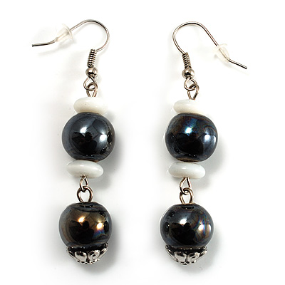 Black & White Bead Drop Earrings (Silver Tone) - main view