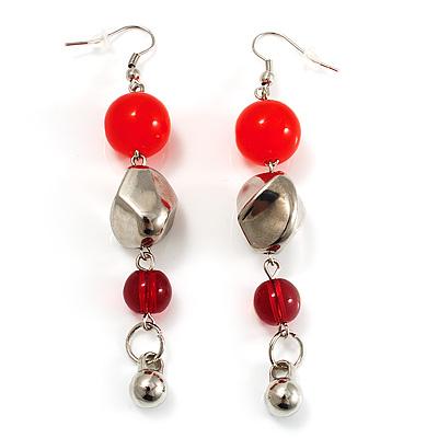 Carrot Red Acrylic Drop Earrings (Silver Tone) - main view