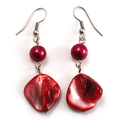 Coral Red Shell Bead Drop Earrings (Silver Tone)