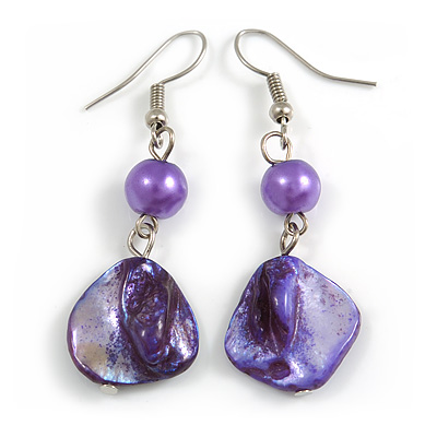 Purple Shell Bead Drop Earrings (Silver Tone)