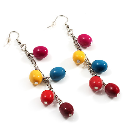 Funky Multicoloured Acrylic Bead Drop Earrings - 9cm Drop (Silver Tone)