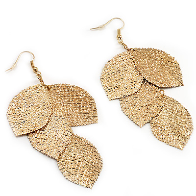 Gold Tone Hammered Leaf Drop Earrings 10cm Main View