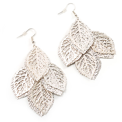 Silver Plated Textured Leaf Earrings - 8cm Drop