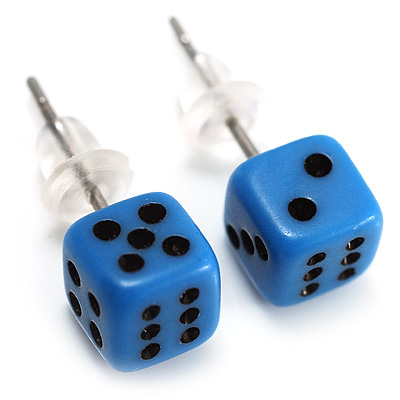 Tiny Blue Plastic Dice Stud Earrings (Silver Tone) -5mm Diameter