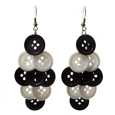 Black & White Plastic Button Drop Earrings (Silver Tone) - 8cm Drop