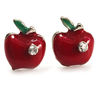 Tiny Red Apple Enamel Diamante Stud Earrings (Silver Tone)