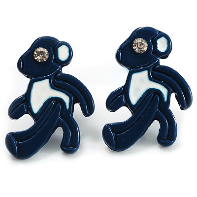Small Dark Blue Diamante Teddy Bear Stud Earrings