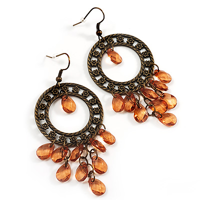 Bronze Filigree Citrine Bead Chandelier Hoop Earrings - 7.5cm Drop - main view