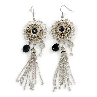 Two Tone Long Filigree Flower, Tassel & Key Drop Earrings - 11cm Drop