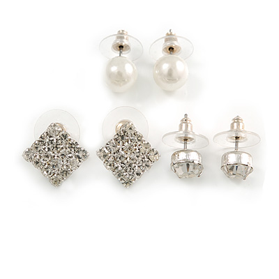 Crystal & Simulated Pearl Jewelled Stud Earrings (Silver Tone)