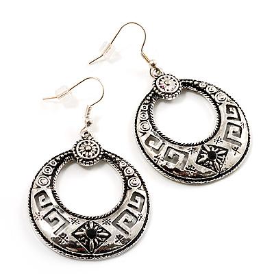 Medium Textured Hoop Drop Earrings (Antique Silver Tone) - 3.5cm Diameter