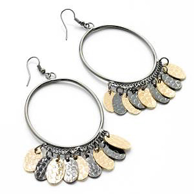 Large Oval-Shaped Dangle Hoop Earrings (Black & Gold Tone) - 9.5cm Drop