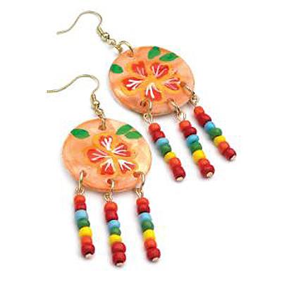 Multicoloured Bead Shell Drop Earrings (Gold Tone) - 8cm