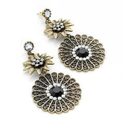 Bronze Tone Filigree Floral Jewelled Drop Earrings - 7cm Drop