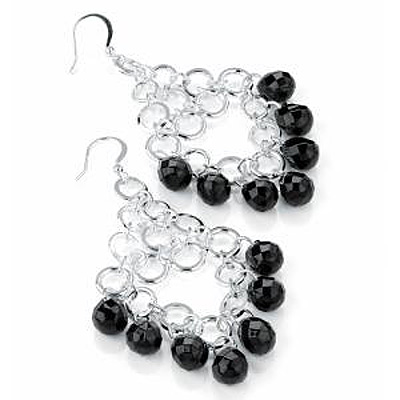 Black Bead Chandelier Earrings (Silver Tone) - 7.5cm Drop