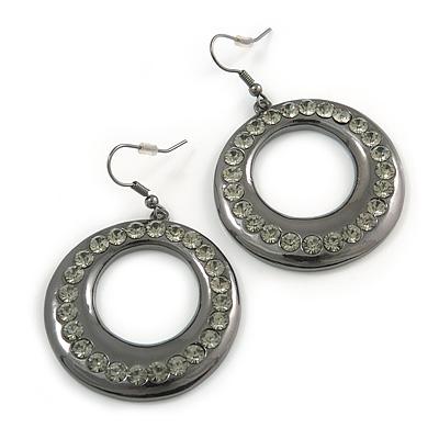 Gun Metal Diamante Hoop Drop Earrings - 4cm Diameter