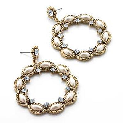 Gold Tone Clear Diamante Hoop Earrings - 5cm Diameter