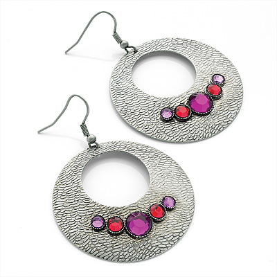 Burn Silver Textured Diamante Hoop Earrings - 4.5cm Diameter
