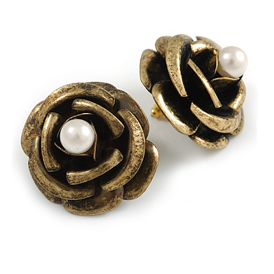 Large Dimensional Rose Stud Earrings (Bronze Tone) - 3cm Diameter