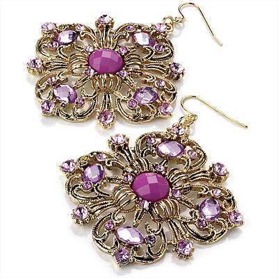 Square Shape Jeweled Filigree Drop Earrings (Burn Gold & Lilac) - 7cm Drop