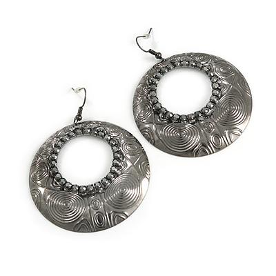 Gun Metal Hammered Diamante Hoop Earrings - 5.5cm Diameter