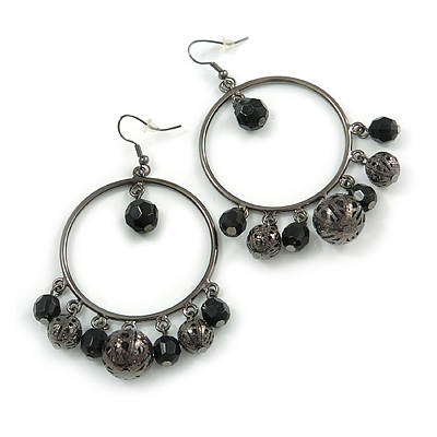 Gun Metal Bead Hoop Earrings (Black) - 4.5cm Diameter - main view
