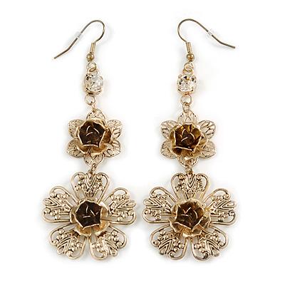Long Filigree Floral Drop Earrings (Gold Tone) - 9cm Drop