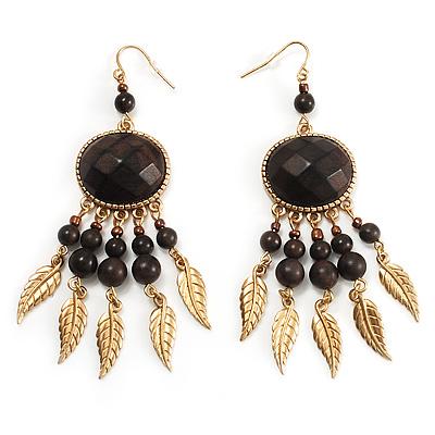 Dark Brown Wood Feather Dangle Earrings (Gold Metal) - main view