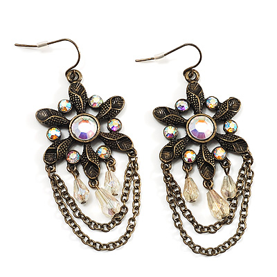 Bronze Tone Floral Chain Drop Earrings - 6.5cm Length