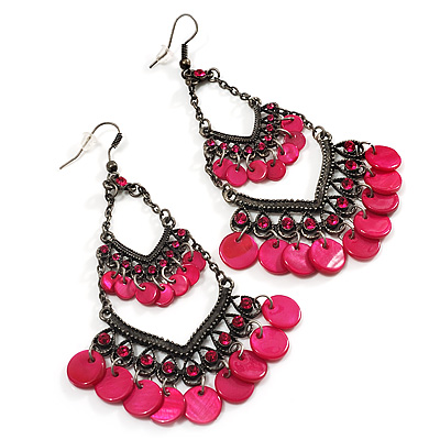 Long Magenta Shell Disk Chandelier Earrings - 9.5cm Drop