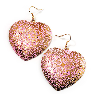 Large Pink Hammered Heart Drop Earrings (Gold Tone) - 6.5cm Length