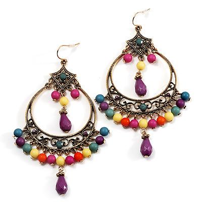 Multicoloured Acrylic Bead Hoop Earrings (Gold Tone) - 9cm Drop