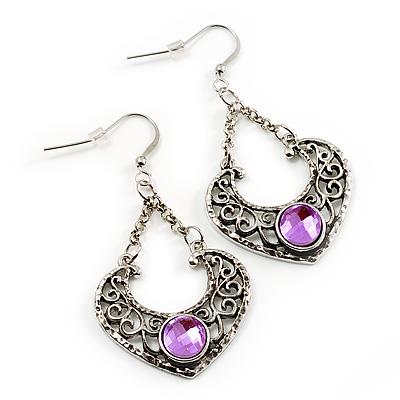 Burn Silver Filigree Diamante Drop Earrings - 5.5cm Length - main view