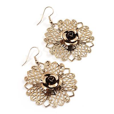 Gold Filigree Rose Drop Earrings - 4.5cm Diameter