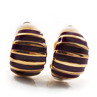 Small C-Shape Stripy Purple Enamel Clip On Earrings (Gold Tone)