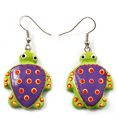 Funky Wooden Turtle Drop Earrings (Light Green & Purple) - 4.5cm Length